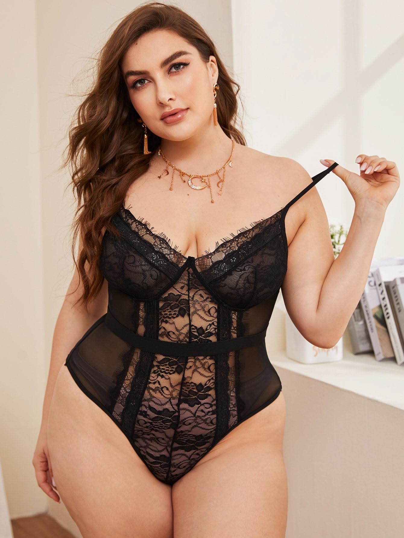 #Contrast lace mesh teddy bodysuite(627):
