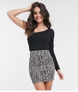 #Mini pencil skirt in abstract animal print:
