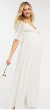 Bridal floral beaded and embellished maxi dress with v neck in ivory