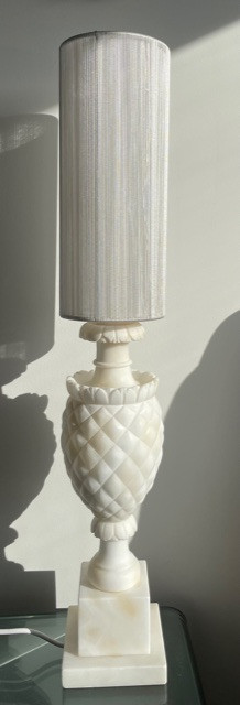 White alabaster light stand